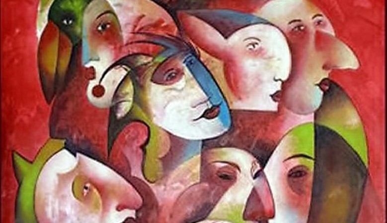 Human Birds - Antonio Pessoa 2002 ( acrylic on canvas - the romantic period ) 97 x 146 cms
