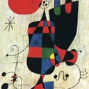 Figures and Dog in Front of the Sun - Joan Miro, 1949
