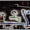 Characters and Birds Party for the Night That Is Approaching - Joan Miro, 1968