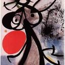 Femme, oiseaux devant le soleil - Joan Miro, 1972