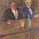 At the Cafe The Customer and the Anemic Cashier - Henri de Toulouse-Lautrec, 1898